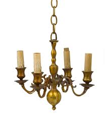 continental brass four light chandelier with baer stem large ball drop at bottom scrollwork arms ed