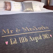 mr and mrs wedding day anniversary bed throw blanket by baby yorke personalised