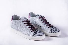 leather crown zebra suede silver glitter low top sneaker