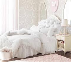 romantic white falbala ruffle lace bedding sets princess duvet cover set solid color comforter sets full queen king pink princes king size duvet cover white