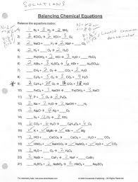 balancing chemical equations worksheets with answers practice