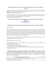 Questionnaire Of Personal And Organizational Values Congruence For