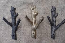 Cast Iron Tree Coat Rack Rustic Tree Branch Wall Hook Cast Iron Metal or Gold Coat Rack 26