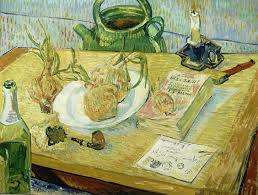 vincent van gogh still life around a plate of onions early january 1889