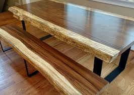 Live Edge Guanacaste Dining Table And Bench Set By Merican Rustic