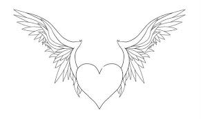 Printable Heart With Wings Coloring Pages Coloringstar