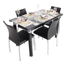bent 4 seater glass top dining table set woodys furniture 4 chair dining table set in
