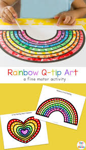 Fun q-tip cotton swab art free printable activities for preschool kids to  work on