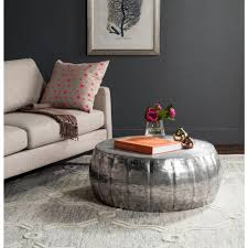 comfortable round silver coffee table