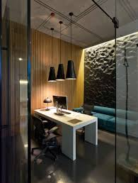 office pendant light. Modern Minimalist Office Design With High Ceiling And Hanging Pendant Lamp Low Light Plus White Desk Black Leather Chairs Wood Wall E