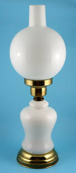 vintage milk glass table lamp base with globe chimney shade no antique lamps blue s