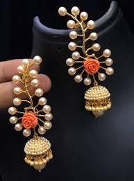 Designer Earrings Online Shopping India Golden Copper Polki Earrings 150686 Indian Jewelry
