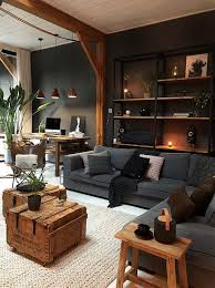 masculine industrial living room with a