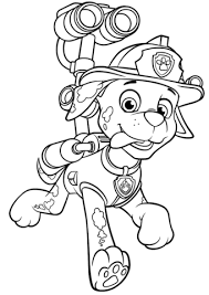 Small Picture Paw Patrol Marshall with Water Cannon coloring page Free