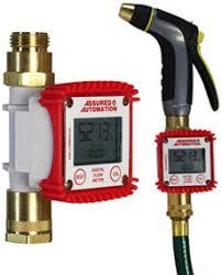 dm p digital water meter between garden hose and nozzle