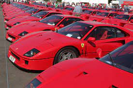World Record 60 F40s Paint Silverstone Circuit Ferrari Red
