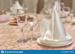 Napkin In Glass Design Festive Table Setting Folded Napkin On A Plate And Three