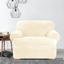 chair slipcover t cushion sure fit stretch plush cream t cushion chair slipcover patio seat cushion