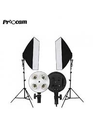 proocam continuous lighting studio kit light stand softbox 50x70cm 1pair