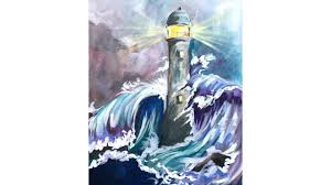 stormy sea and lighthouse step by step acrylic painting on canvas for beginners you