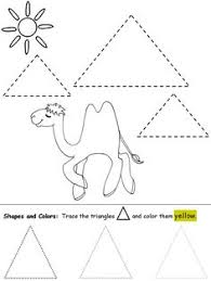 Small Picture Shape worksheet for young children Trace the triangles and color
