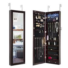 simple elegant full tall mirror over the door jewelry armoire