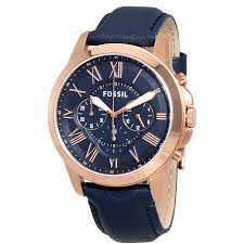 fossil watches jomashop fossil grant multi function navy dial navy leather men s watch