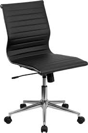 eames inspired office chair. Mid-Back Armless Black Ribbed Upholstered Leather Swivel Conference Chair [BT-9836M-2-BK-GG] Eames Inspired Office