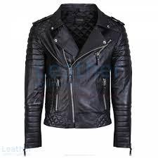 Shop Now Biker Men Black Quilted Leather Jacket Men & Biker Men Black Quilted Leather Jacket front Adamdwight.com