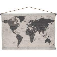 world map tapestry canvas wall decor