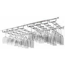 WALLNITURE Under Cabinet Stemware Glass Storage Rack Chrome Finish 17 3/4  Inch Set of
