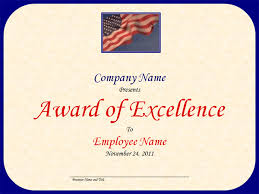 Award Of Excellence Certificate Template Excellence Award with US Flag and Sky Template 18