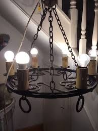 wrought iron custom made 6 lamp chandelier