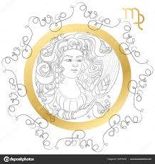 знак зодиака дева гороскоп для карт в Zentangle стиле со словами