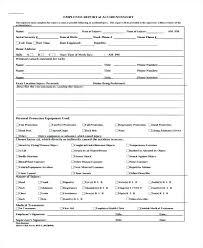 Injury Incident Report Form Template Employee Injury Report