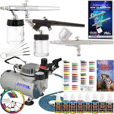 com master airbrush kit sp19 20 art airbrushing system paint kit with standard compressor 11 items
