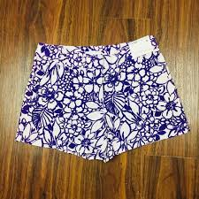 New York And Company Size Chart New York Company Floral Purple Linen Shorts Nwt