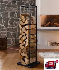Indoor Fireplace Log Holder Modern Metal Wood Stand Firewood Storage Rack  Black