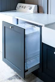 Blue Pull Out Cabinet with Laundry Sorter Bins