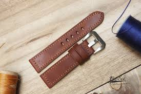 brown pullup wax leather watch band
