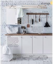 Rebel Walls Well Worn Brick Mural, Kitchen Setting, in Real Living Magazine.