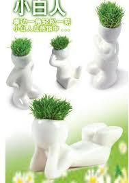 creative gift plant hair man plant bonsai grass doll office mini plant fantastic home decor pot beautifying office bonsai grass pots planters mini