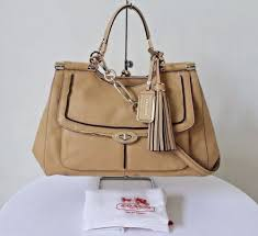 COACH Madison Pinnacle Carrie Satchel Leather Bag Light Tan F28220 NWT  658   purses  fashion