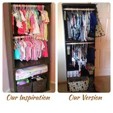 From a Pinterest inspiration. DIY Baby closet from bookshelf. Great for  rooms without closets
