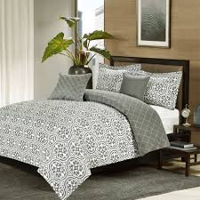 crest home kendrick queen comforter 5 pc bedding set grey quatrefoil medallion oversized