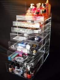 clear acrylic makeup organizer cube with 6 drawers
