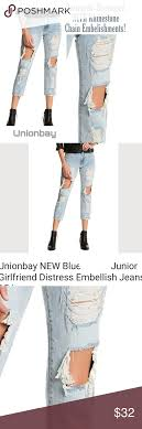 Union Bay Jeans Size Chart Unionbay Distressed Destroyed Chain Embellishments Unionbay