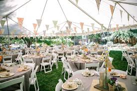 backyard party decorations under white tent and round tables in cream table clothes and white wooden folding chairs over green grass yard and triangle