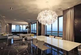 chandelier for dining room. Marvelous Modern Dining Room Chandelier Crystal Chandeliers Over White Rectangular Table For B