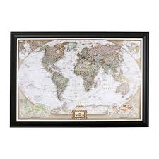 Push Pin Travel Maps Executive World With Black Frame And Pins 27 5 Inches X 39 5 Inches